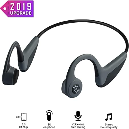 Bone Conduction Headphones – Wireless Earbuds Bluetooth 5.0 Upgraded IPX8 Waterproof Sports Bluetooth Earphones w Mic HD Stereo Sweatproof Premium Sound with Deep Bass for Sport,Lightweight-1.2 oz