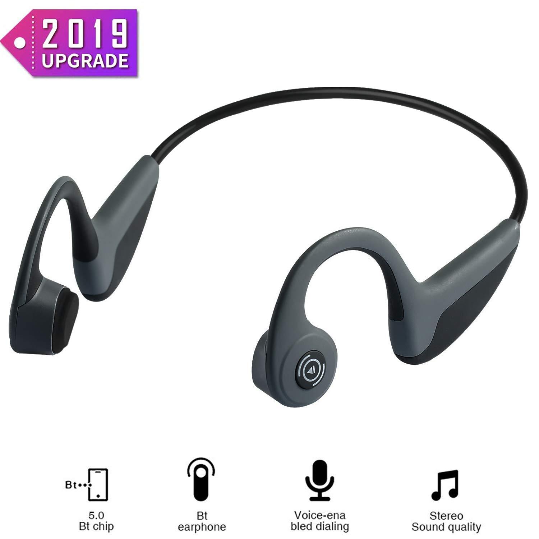 Bone Conduction Headphones – Wireless Earbuds Bluetooth 5.0 Upgraded IP56 Waterproof Sports Bluetooth Earphones w Mic HD Stereo Sweatproof Premium Sound with Deep Bass for Sport,Lightweight-1.2 oz