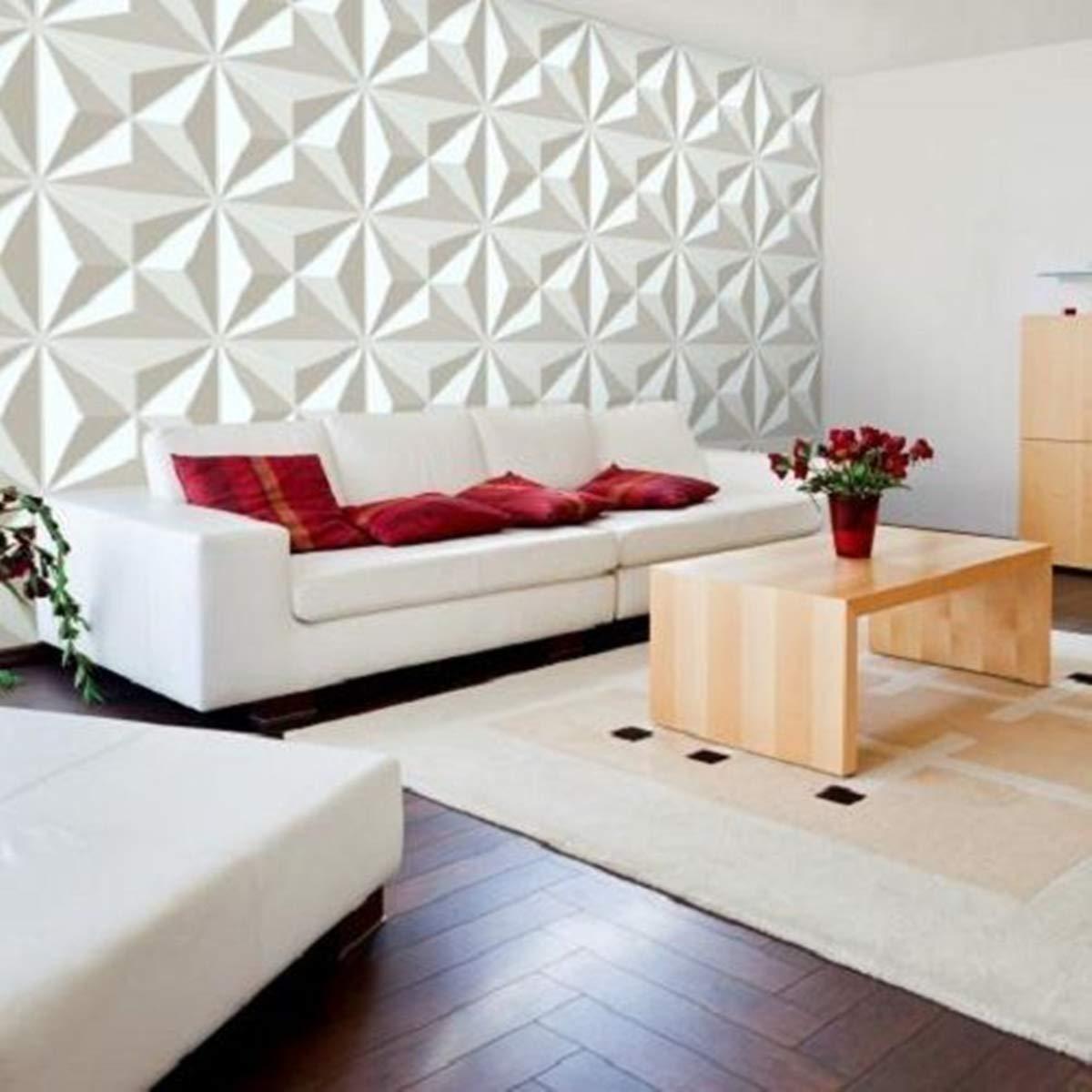 Kisstaker Diamond Wall Papers, 12Pcs 3D PVC Wall Paper Panel Tiles Diamond Design Room Background Home Decor Sticker 500x500mm