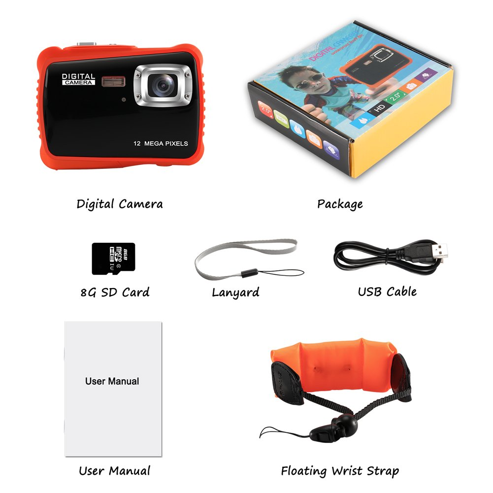 Waterproof Camera for Kids, Crazyfire 12MP HD 720P Kids Digital Camera with 2 inch LCD Display, Underwater Camera with Float Strap, 8GB Memory Card Included