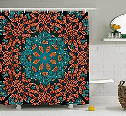 TownLights Shiny Shower Curtain Comfort Baby Glamorous Round Paisley Floral Patterns Psychedelic