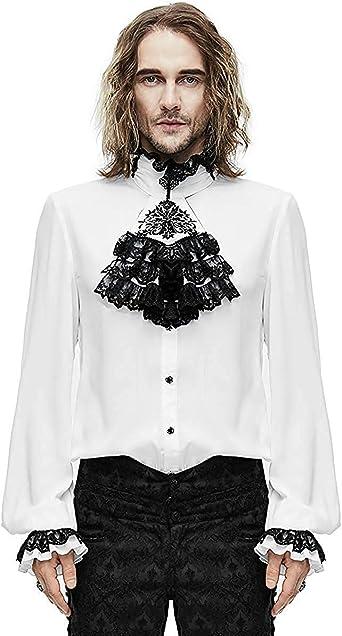 Devil Fashion Gótico para Hombre Camisa Top & Corbata Blanco Steampunk Aristocrat Regency - Blanco, 4XL: Amazon.es: Ropa y accesorios