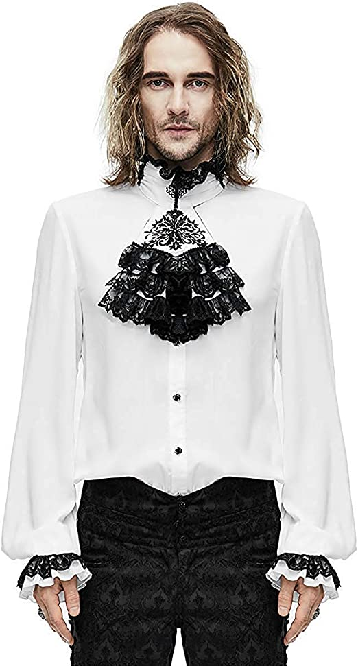 Devil Fashion Gótico para Hombre Camisa Top & Corbata Blanco ...