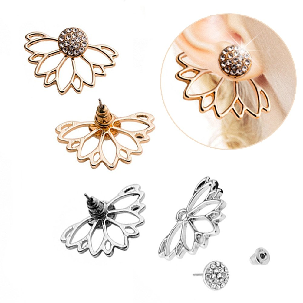 2 Pairs Lotus Flower Women Lovely Crystal Earrings Pearl Front and Back Ear Stud Jewelry (001) HUUIO