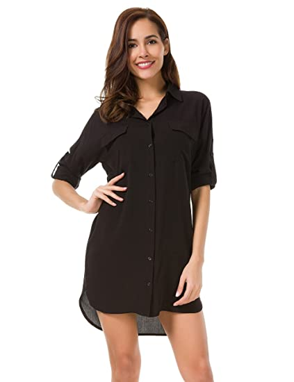 Image Unavailable. Image not available for. Color  MOQUEEN Womens Button  Down Boyfriend Shirt Dress Long ... 558d5a8fd