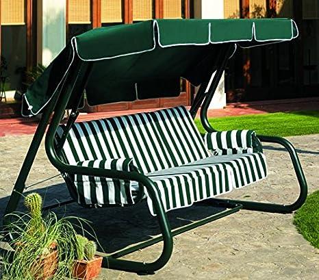 Ideapiu - Balancín de jardín convertible en cama, balancín de jardín de 4 plazas, balancín Master Scab, cama balancín verde con revestimiento de rayas verdes: Amazon.es: Hogar