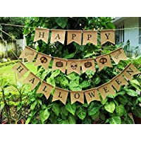 Halloween Bunting decor, Burlap Banner Halloween Decoration, Fall Decor, Rustic Autumn Decor, Pumpkin Bunting decoration