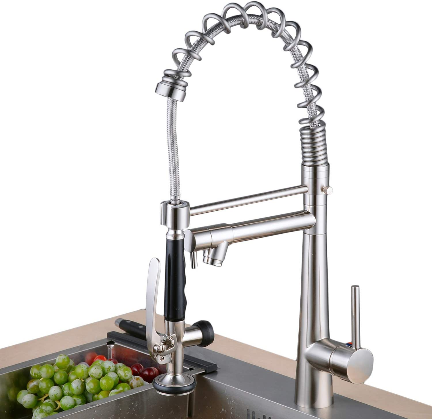 Lead-Free Commercial Brushed Nickel Brass Single Handle Single Lever Pull Out Pull Down Sprayer Spring Bar Sink Kitchen Sink Faucet,Kitchen Faucets with 2-Mode Sprayer
