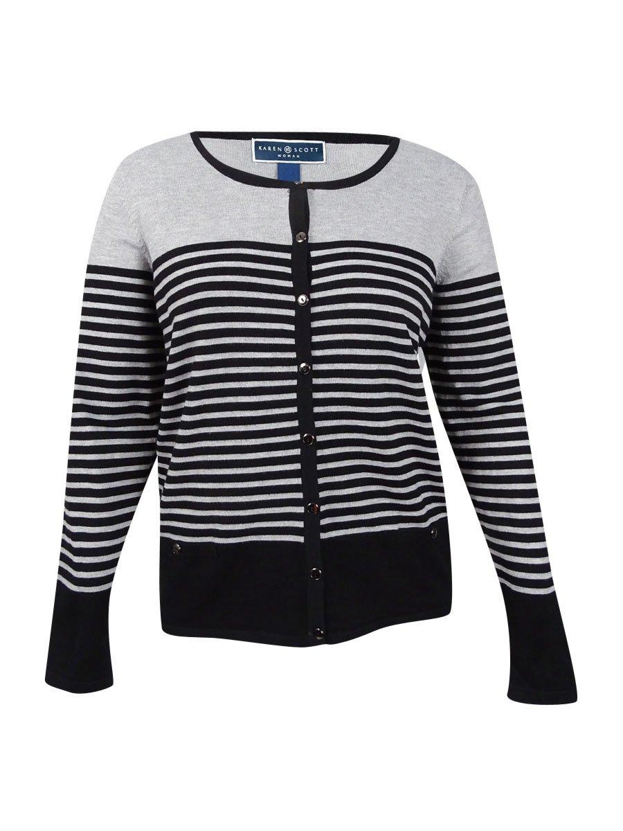 Karen Scott Plus Size Striped Cardigan (1X)