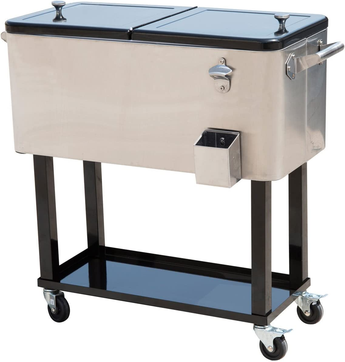 Outsunny 80 QT Rolling Cooler Ice Chest on Wheels Outdoor Stand Up Drink Cooler Cart for Party, Stainless Steel