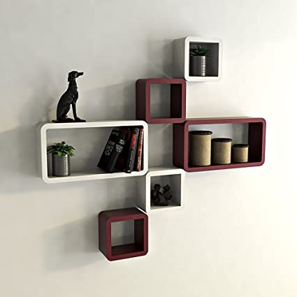 Santosha Decor Wooden Wall Cube Rectangle Wall Shelves Set Of 6