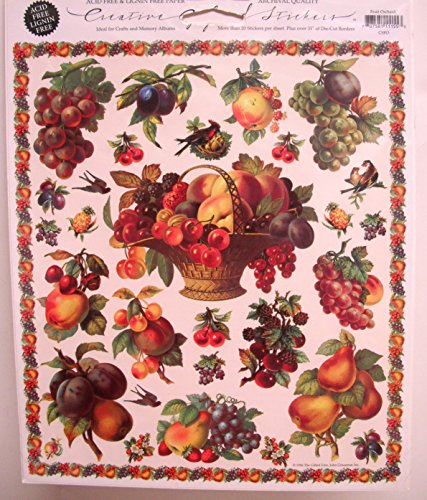 Gifted Line Stickers - Fruit Orchard Victorian Scrapbook Stickers 1 8 X 10 Sheet By John Grossman