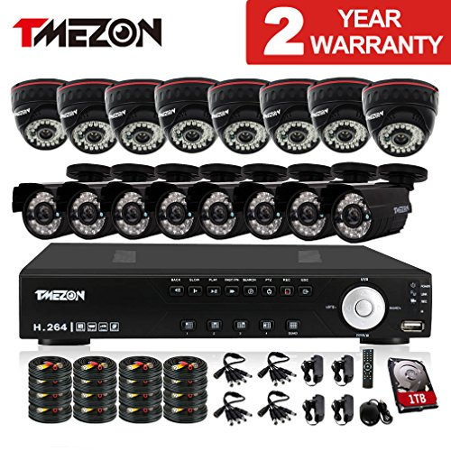 B&w Cctv Camera (TMEZON 16Channel HDMI DVR CCTV Security Cameras System w/ 8 Outdoor Bullet+ 8 Indoor Dome 800TVL Day Night Vision Surveillance Cameras P2P Smart Phone View with 1TB Hard)