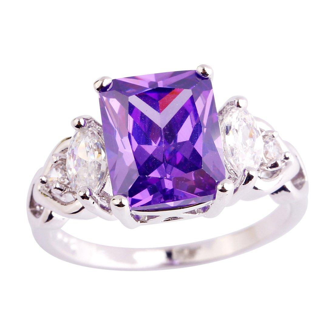 PSEZY Mystic Rainbow Topaz Amethyst rings for Women Vintage Engagement Rings Promise Rings MAE498-B498 9.0