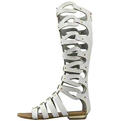 cd993a101e2 fereshte Women s Cut Out Knee High Flat Summer Boots Gladiator Sandals  White 41-6.5 UK  Amazon.co.uk  Shoes   Bags
