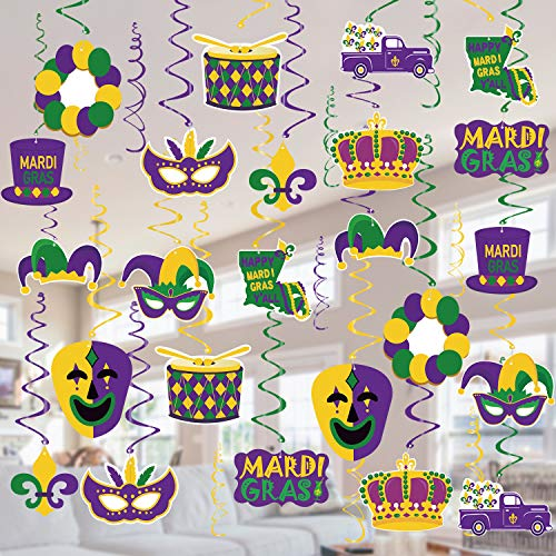 Tifeson Mardi Gras Hanging Swirl Decorations - 36 Pcs Mardi Gras Crown Mask Ceiling Hanging for Mardi Gras Party, Mardi Gras Birthday Party, New Orleans Theme Party Decor (Gold/Green/Purple)