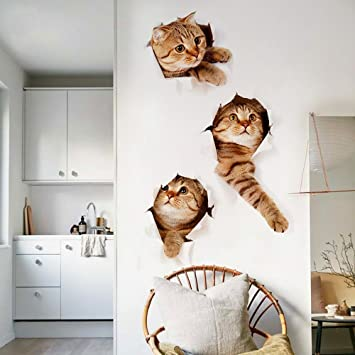 3D Vivid Cat Wall Stickers For Children Room Peel U0026 Stick Wall Murals Wall  Decal Kid