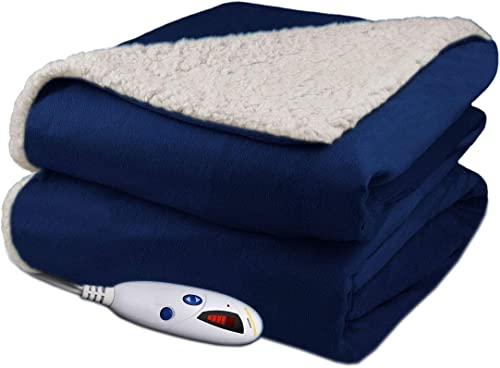 Biddeford Velour Sherpa Electric Heated Warming Throw Blanket Navy Washable Auto Shut Off 6 Heat Setting