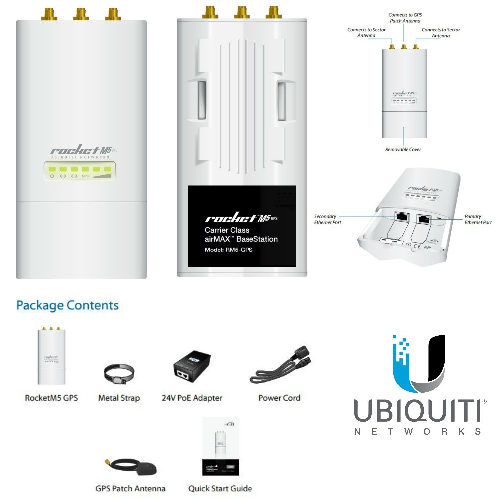 ROCKET M5-GPS 5GHz Hi Power 2x2 MIMO AirMax by Ubiquiti Networks (Image #1)