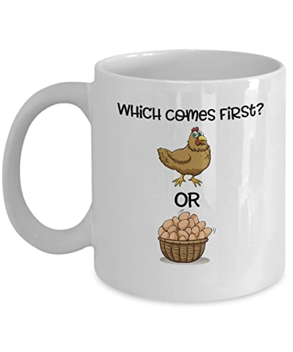 3989a4338c0b Amazon.com  Which Comes First-Chicken Or Egg Coffee Mug  Kitchen ...