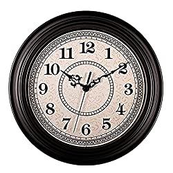 AIOLOC 12-Inch Vintage Non-ticking Round Wall Clock Decorative, Battery Operated Imitate Wooden Wall Clocks Living Room Kitchen Home Office