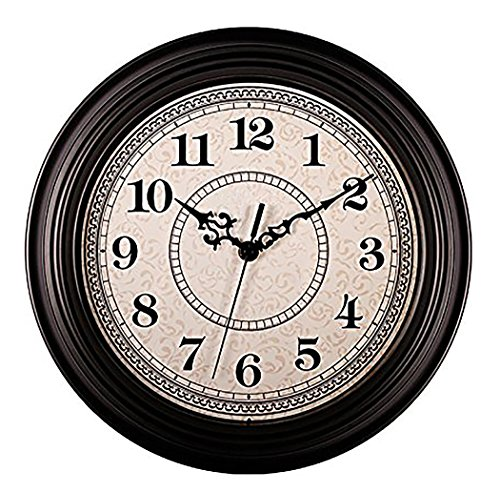 AIOLOC 12-Inch Vintage Non-ticking Round Wall Clock Decorative, Battery Operated Imitate Wooden Wall Clocks Living Room Kitchen Home Office For Sale