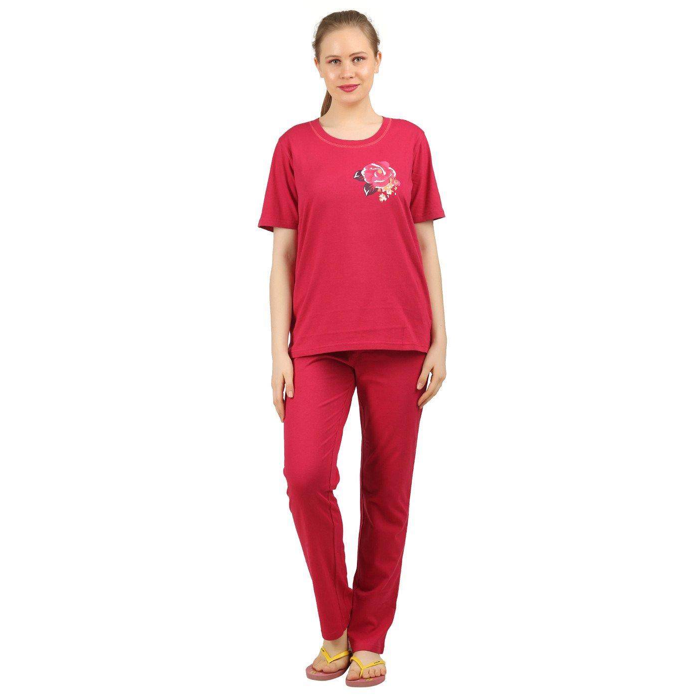 bd29e19c9 Clifton Womens Rose Printed Nightwear Pajama Set -Red at Amazon Women s  Clothing store