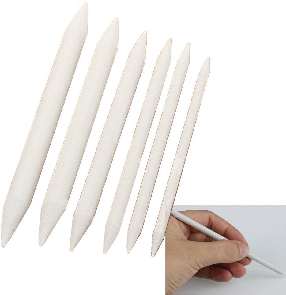 Kangkang@ 6 Pcs/Set Double Ended Durable Art Drawing Pen Tools Stump Sketch Blending Paper Stump Smudge Tortillion Stick Tool White