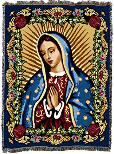 Pure Country Weavers Our Lady of Guadalupe Blessed Virgin Mary Woven Tapestry Blanket Cotton USA 72x54