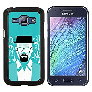 Blanca Breaking Meth- Metal de aluminio y de plástico duro Caja del teléfono - Negro - Samsung Galaxy J1 / J100