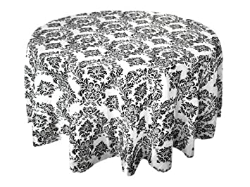 BalsaCircle 120u0026quot; Black White Damask Flocking Table Top Round Tablecloth Part 9