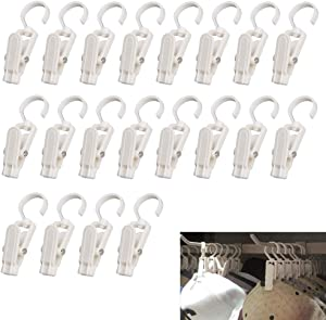 VintageBee 20 PCS Super Strong Plastic Home Travel Swivel Hanging Laundry Hooks Clip - 4.3 Inches (White)