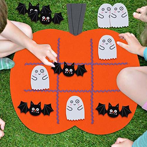 OurWarm 17 x 17 Inch Halloween Games Tic Tac Toe Games Felt Board Game for Kids Party Outdoor or Indoor, with 10pcs Felt Discs ( 5pcs Bats & 5pcs Ghosts) -