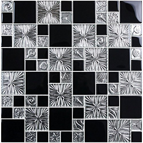 HYH 8mm Thickness Electroplated Glass Mesh-mounted Mosaic Tile Sheet for Kitchen Backsplash Bathroom Wall and Swimming Pool 12 In. X 12 In.(R3855C) Sample by HYH