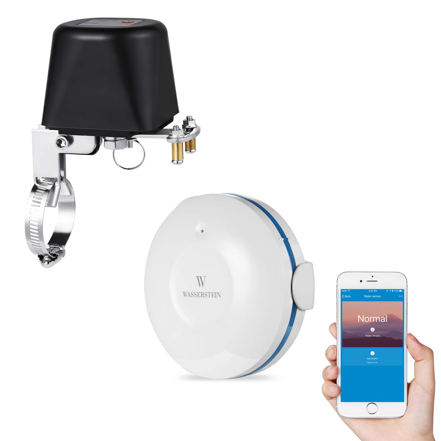 Smart Wi-Fi Water Sensor Bundled with Valve Controller - iOS/Android App Control Water Shut Off Valve for Flood and Leak Detection Compatible with Alexa, and Google Home by Wasserstein