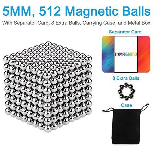 512 Pcs and 5 mm Magnetic Fidget Blocks with extra 8Pcs, Separator Card, Travel Pouch, and Metal Gift Box