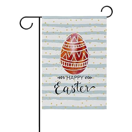 Amazon.com: Doble cara feliz Pascua Folk huevo patrón oro ...