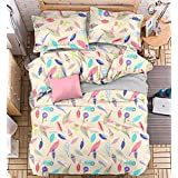 4pcs Bedding Set Duvet Cover Flat Sheet Pillow Case Twin Full Queen Planet Designs (Twin, Leaf)
