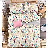 4pcs Bedding Set Duvet Cover Flat Sheet Pillow Case Twin Full Queen Planet Designs (Full, Leaf)