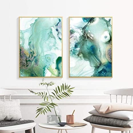 Abstract Landscape Art Poster Print Wall Art Trees Scenery Green Gray Brown Home Decor