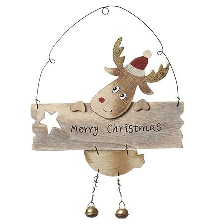 hanging wooden reindeer merry christmas decoration
