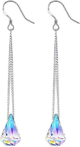 Elegant Fashion 925 Sterling Silver Women Zircon Crystal Drop Dangle Earrings