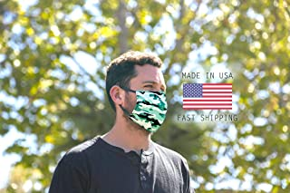product image for GREEN CAMO Double Layered Face Mask, Camo Print Face Mask, Comfortable Face Mask, Washable and Reusable Face Mask, One Size Fits Most, Cotton And Polyester Double Layered, MADE IN THE USA!