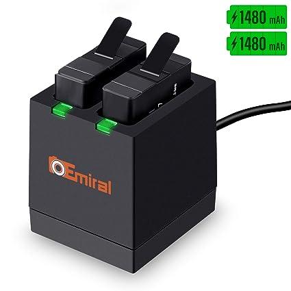 Emiral Baterías de Repuesto (paquete de 2) y Cargador USB LED de 2 Canales para GoPro Hero 5 Black, AHDBT-501, Hero (2018), Hero 6, Hero 7 Black
