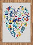 Kids Area Rug by Lunarable, Heart Shaped Collage of Toys for Newborn Baby Boy Train and Alphabet Educational Fun, Flat Woven Accent Rug for Living Room Bedroom Dining Room, 5.2 x 7.5 FT, Blue Grey
