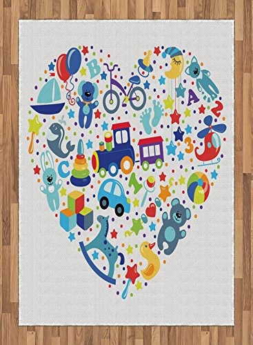 Kids Area Rug by Lunarable, Heart Shaped Collage of Toys for Newborn Baby Boy Train and Alphabet Educational Fun, Flat Woven Accent Rug for Living Room Bedroom Dining Room, 5.2 x 7.5 FT, Blue Grey by Lunarable