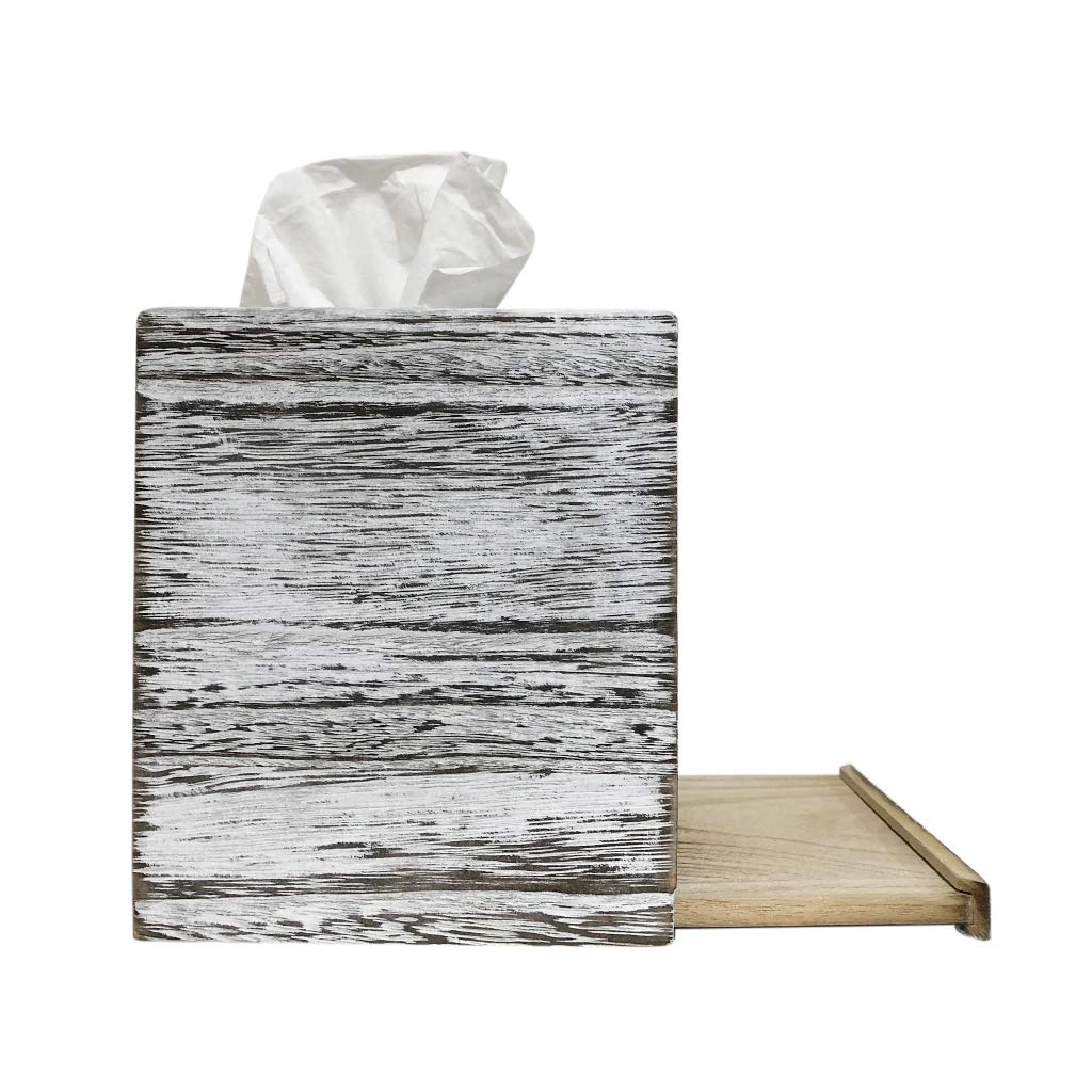C60 COOPER White Weathered Wood Style Tissue Box Cover Square, Tissue Box Cover, Tissue Box Cover Holder - Paulownia Wood by C60 COOPER (Image #3)