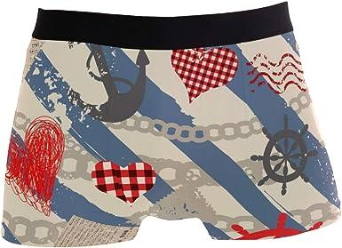 Boxer Briefs Mens Underwear Anchor Pattern Trunks for Men