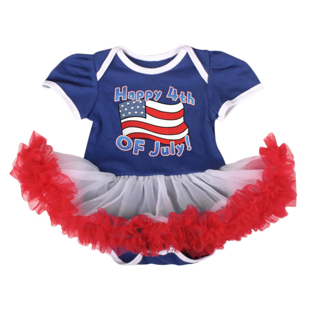 1b5047566a5b Amazon.com  OBEEII 4th of July Baby Toddler Girl American Flag Romper Tutu  Dress Headband Leg Warmers Shoes Clothes Outfits  Clothing