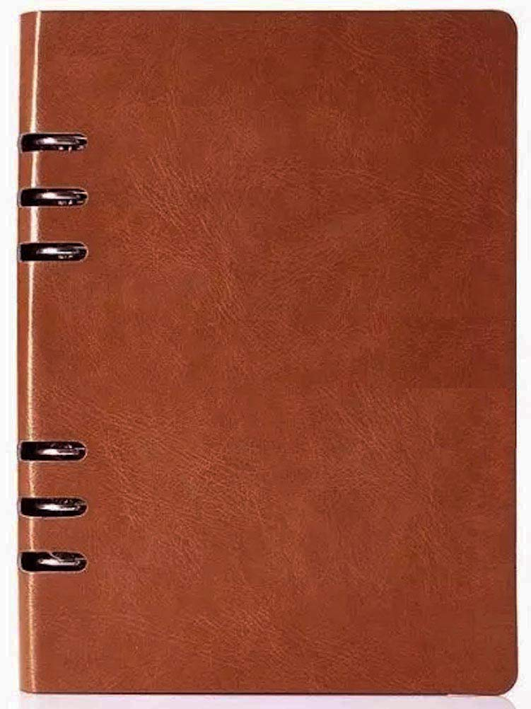 A5 Coffee Large Leather Refillable Leather Binder Journal Notebook, A Refillable Journal Refillable Executive Notebook (9